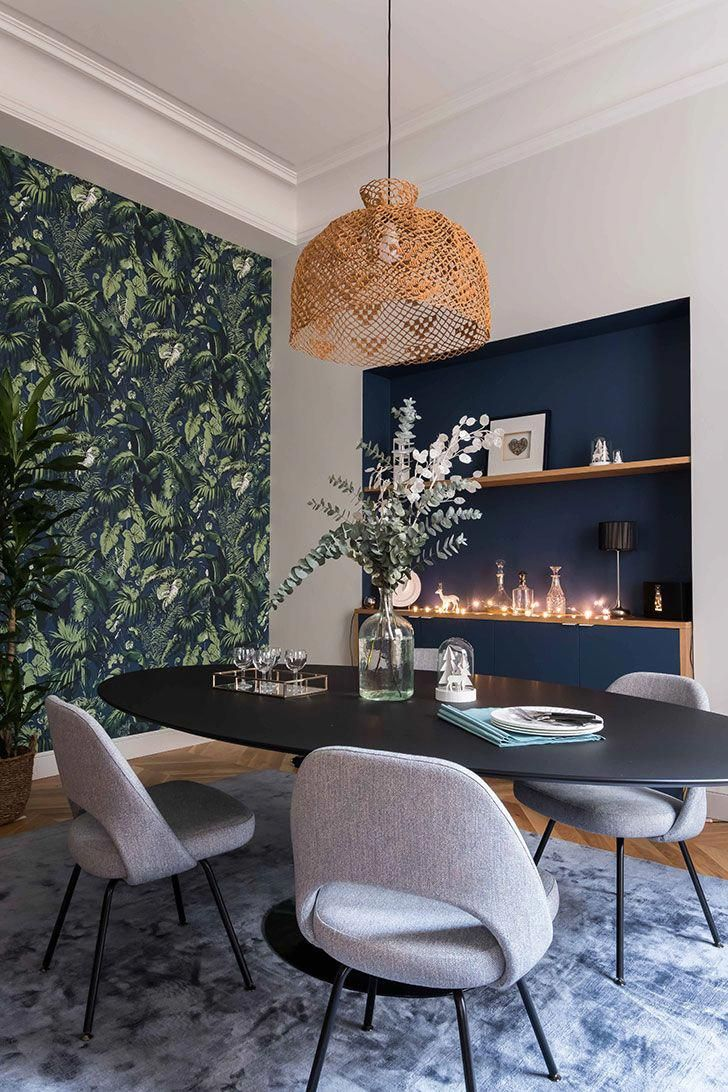 Apartment with stained glass window and unusual wallpapers in paris pufik beautiful interiors online magazine diningroomideas also rh pinterest