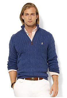 Polo Ralph Lauren Half-Zip Cable-Knit Tussah Silk Sweater  31ee1115ba1