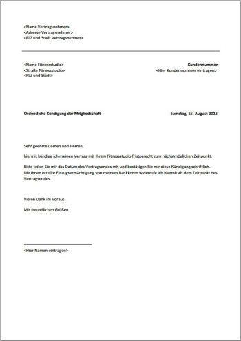 Kündigung Fitnessstudio Fristgerecht Xobbu Kündigung Vorlage