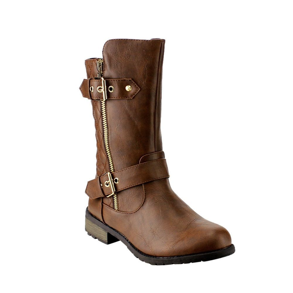 Forever GF32 Women's Faux Quilted Combat Boots