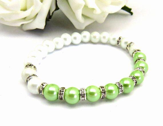 Pale Green Beaded Bridesmaid Bracelet Green by crystaljemscouk