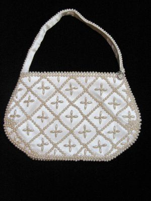 Vintage White Beaded Evening Purse ~ SOLD
