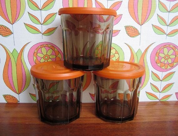 3 Arcopal Arcoroc France Smoke Glass Canister by TeaCupCakeNL