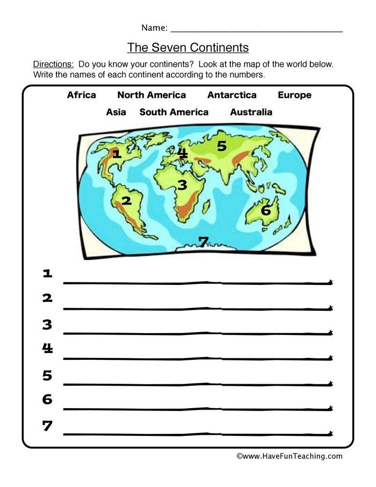 Labeling Continents Worksheet Bradley School Social