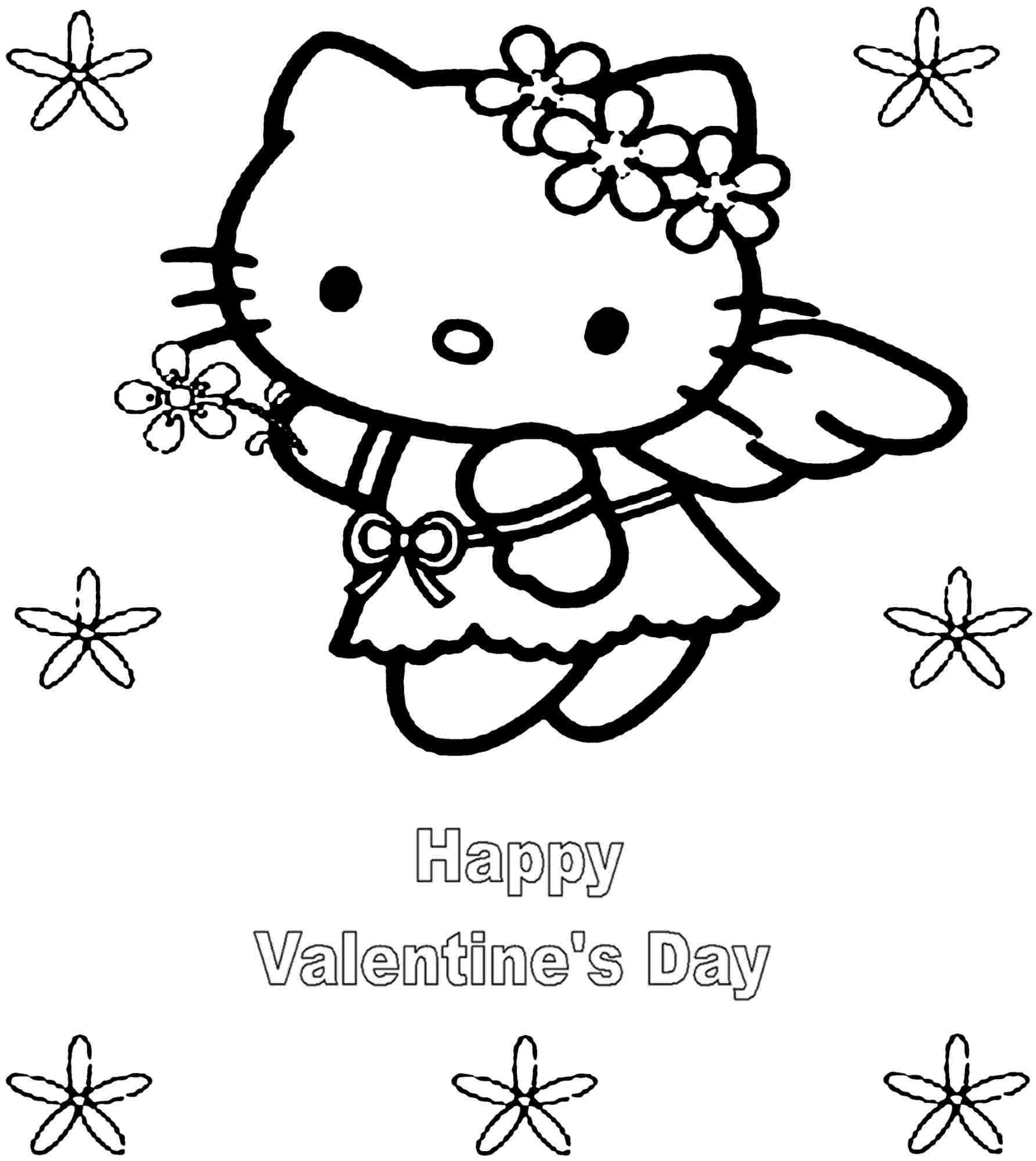 Coloring book pages valentines - Name Printable Hello Kitty Valentine Coloring Pages