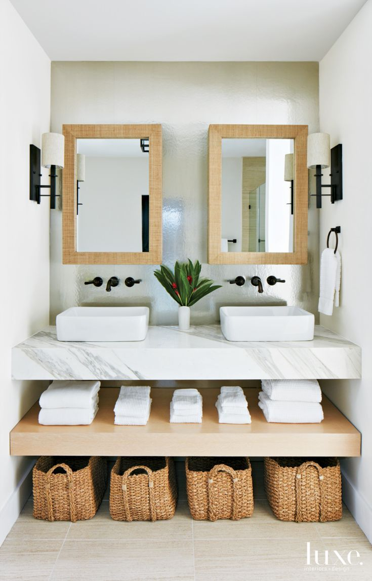 Modern White Master Bathroom With His And Hers Mirrors White Master Bathroom White Marble Bathrooms Beach Bathroom Decor