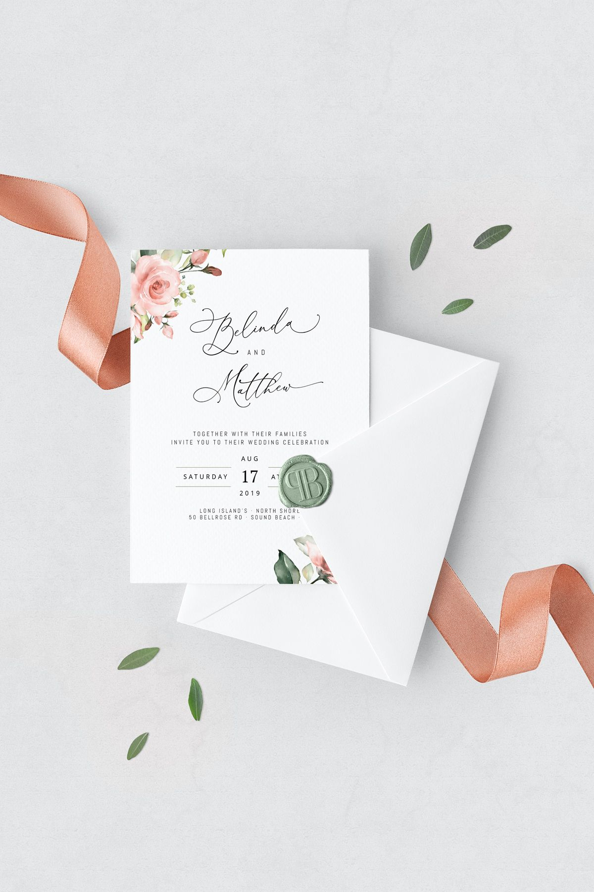 Wedding Invitation Template Kit With Roses And Greenery INSTANT