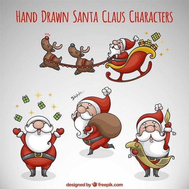 paquet de Père Noël dans différentes activités Hand-drawn   Navidad
