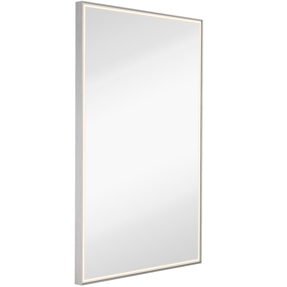 Brushed Metal Mirror With Lights Lighted Backlit Led Wall Mirror Contemporary Glass Illuminated Thin Frame Hangi Mirror With Lights Mirror Wall Metal Mirror