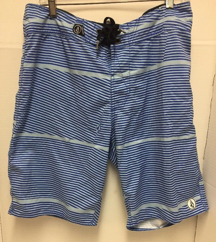 798c3a588f Volcom Boys 32 Waist Swim Trunks Board Shorts Blue and White Stripes #Volcom  #SwimShorts