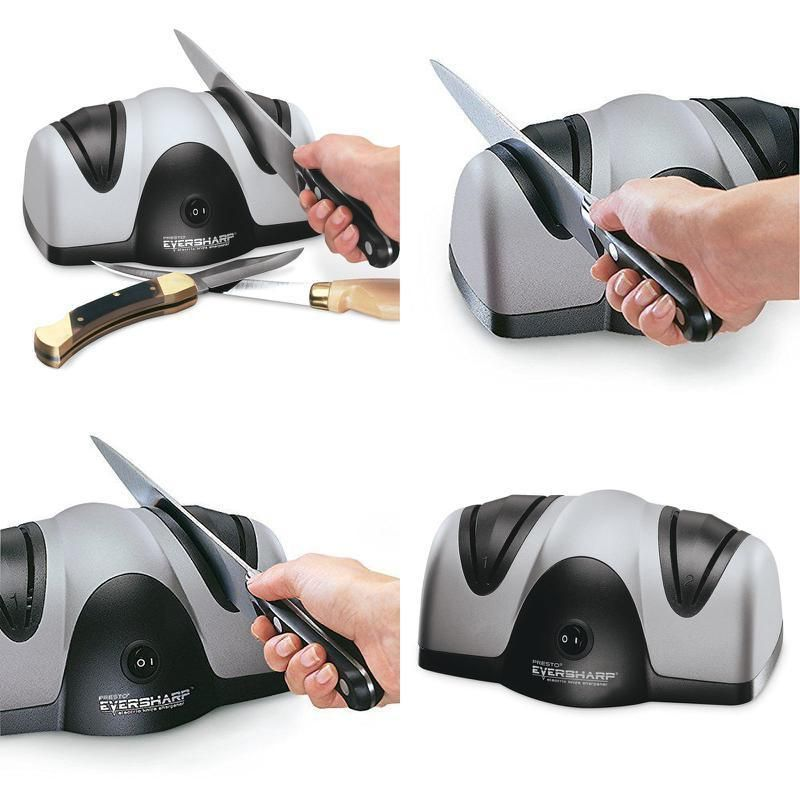 Electric knife sharpener twostage sharpening system non
