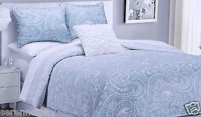 Cynthia Rowley Twin Xl Paisley Floral Ombre Light Blue White 3 Pc