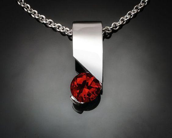 garnet necklace - red - silver pendant - Mozambique garnet - Argentium silver - January birthstone - modern jewelry - 3460 on Etsy, $116.00