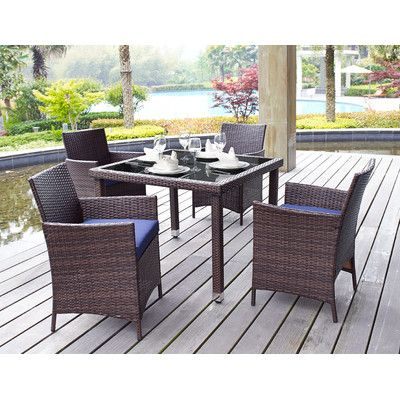 Dhi Aptos 5 Piece Outdoor Dining Set With Cushions Reviews