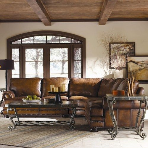 Bernhardt Foster Leather Sectional Sofa with Nailhead Trim : leather sectional with nailhead trim - Sectionals, Sofas & Couches