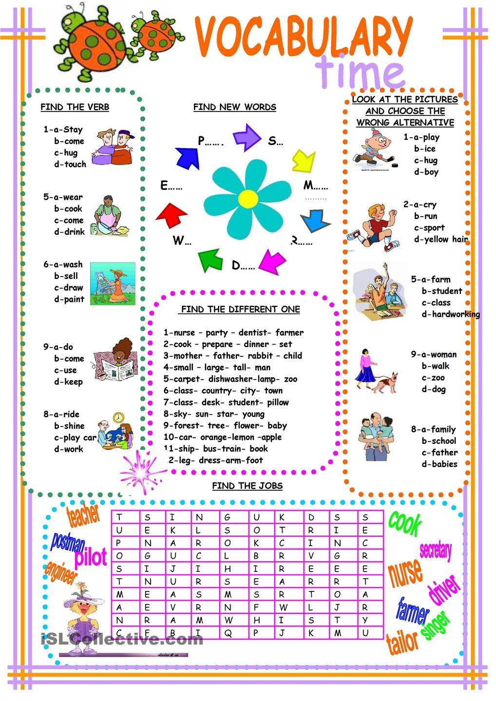 vocabulary | ESL worksheets of the day | Pinterest | Englisch