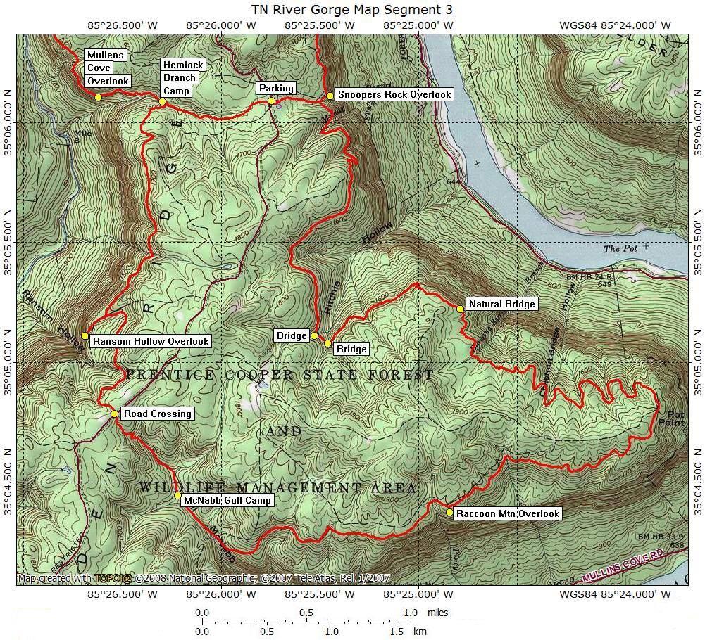 TENNESSEE RIVER GORGE SEGMENT TOPO MAPSgps coordinates