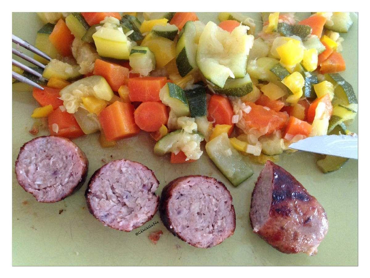 Pour les légumes, juste revenus dans une noix de beurre : courgette/carotte/poivron et un poil de curry !