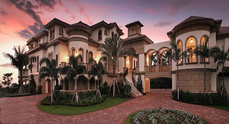 Mediterranean Style House Plan 75984 With 6 Bed 7 Bath 8 Car Garage Mediterranean Style House Plans Mediterranean Mansion Mansions