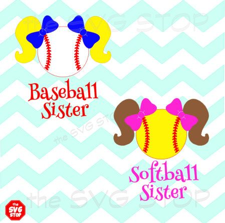 Baseball softball sister pigtails design SVG and studio by SVGstop - project closeout