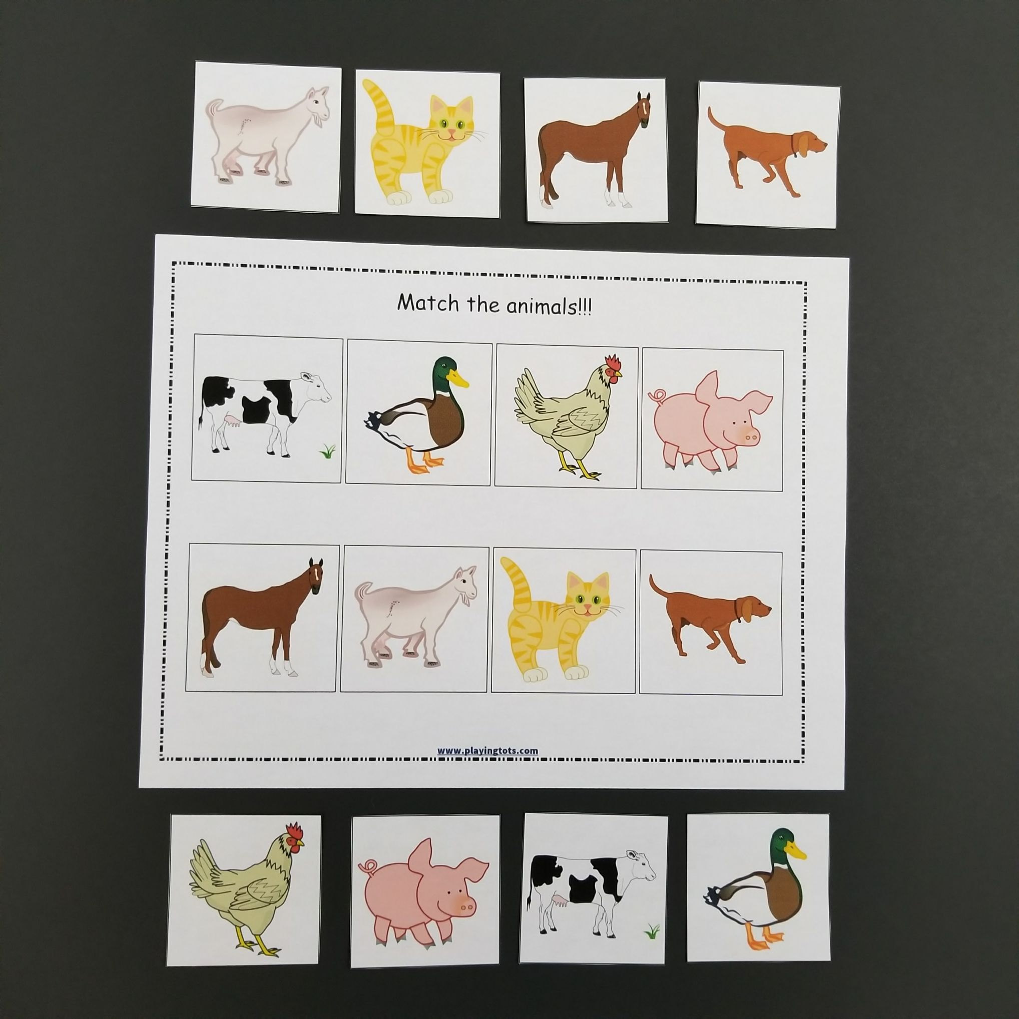 Match The Animals Keywords Activity File Folder Kids