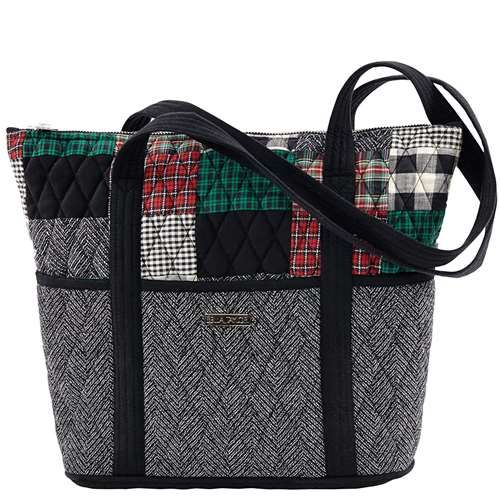 Ivy Stride - The Stride from our Ivy Collection comes in a sophisticated patchwork of  tartan red, ivy green and crisp black with a jet black microsuede trim, base and strap. Measuring 11x4x11