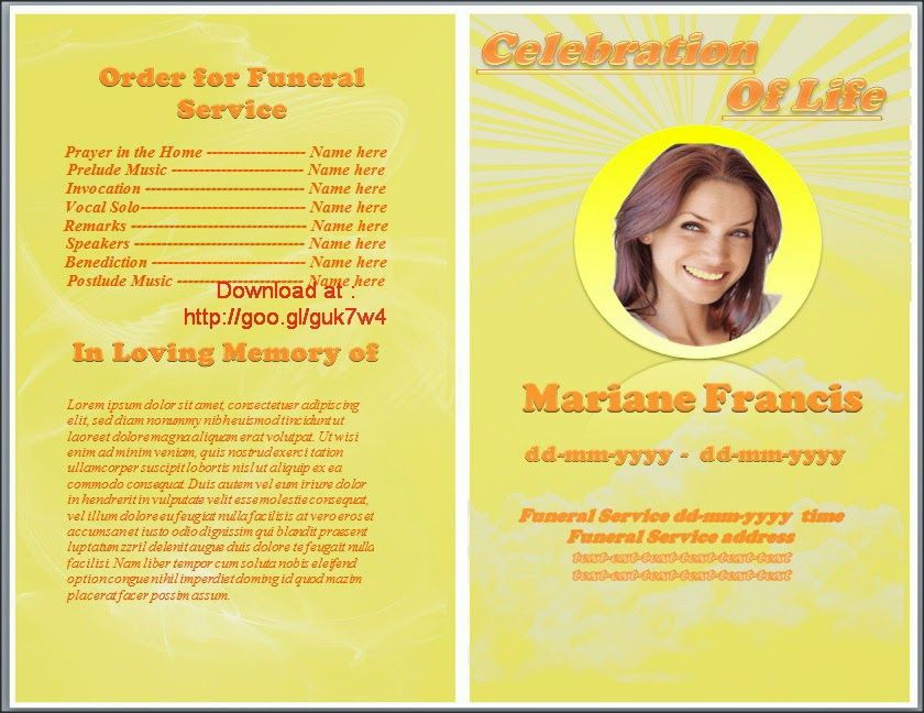 Funeral Program Brochure Template Or Memorial Program For Word