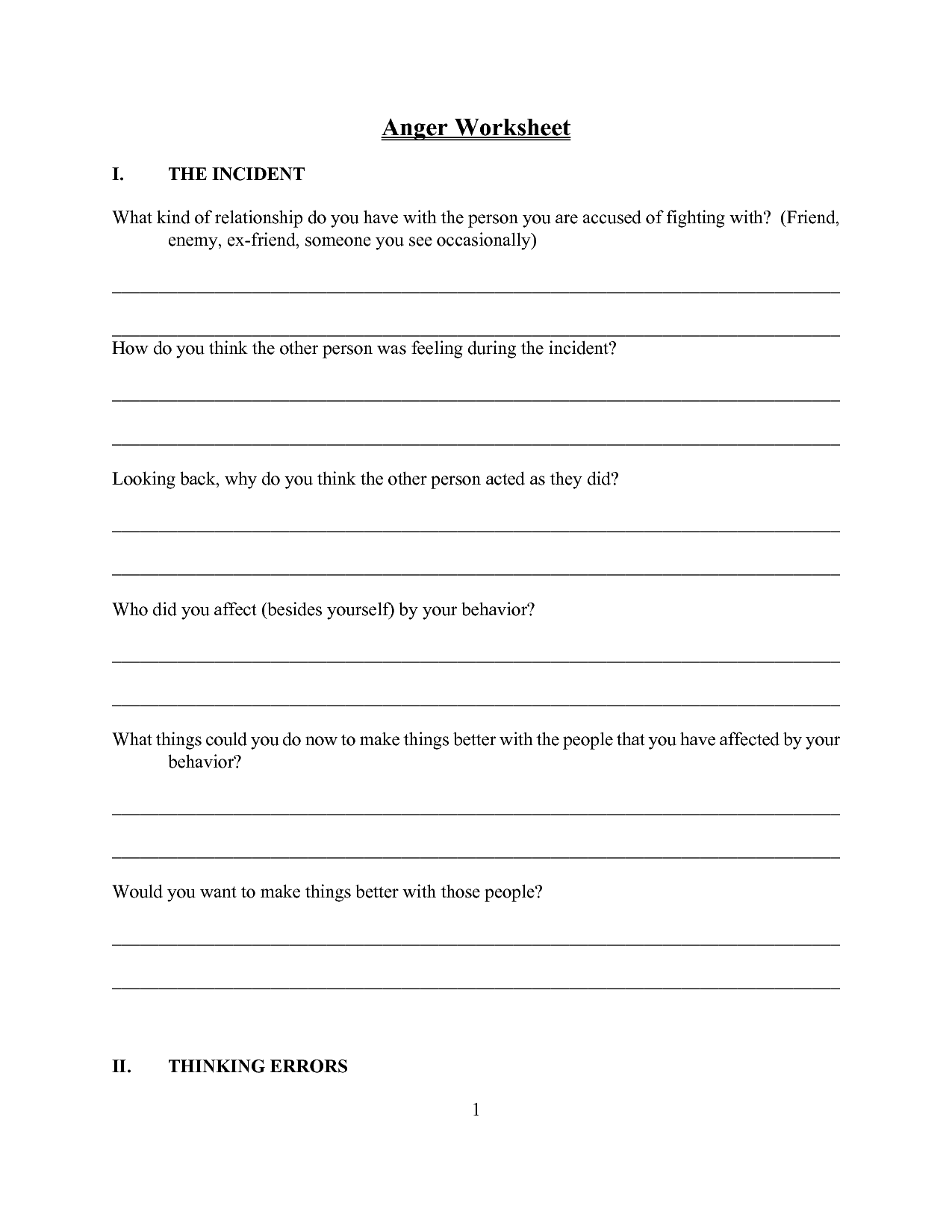 worksheet Free Anger Management Worksheets a simple z on speedy products in anger management worksheets worksheets