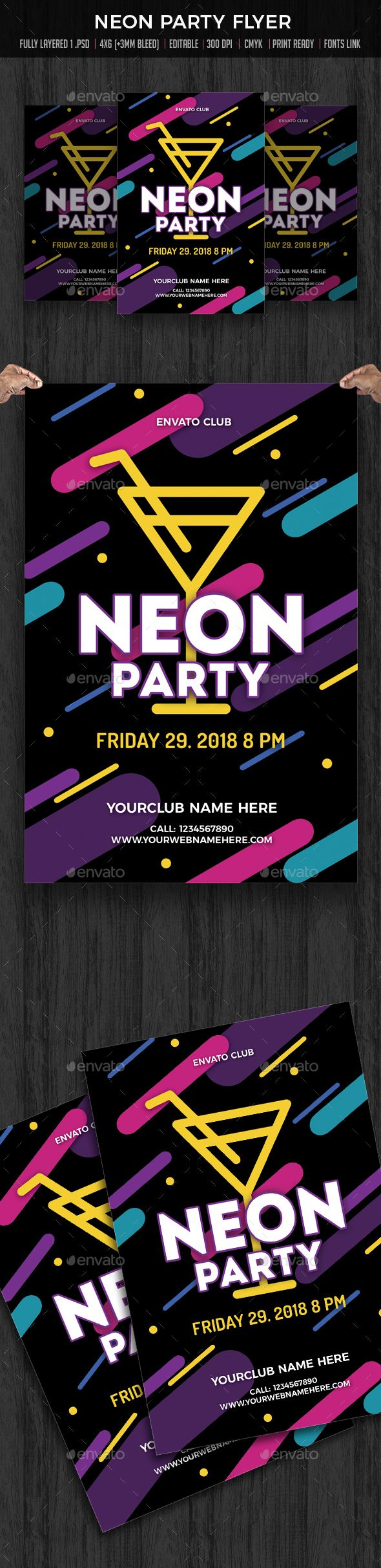 Neon Party  Cocktail Party  Neon Party Neon And Flyer Template