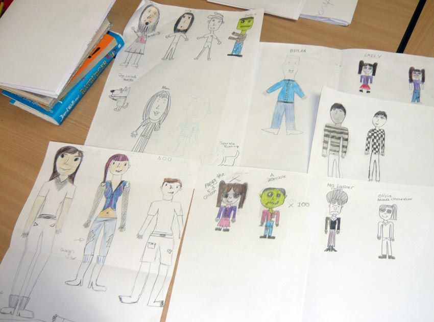 Some of the kids' fantastic drawings from yesterday's #Wakefield school workshop - all characters inspired by @tommydonbavand 's workshop
