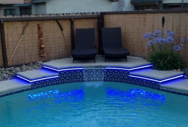Outdoor Led Strip Lights Installed Poolside Waterproof