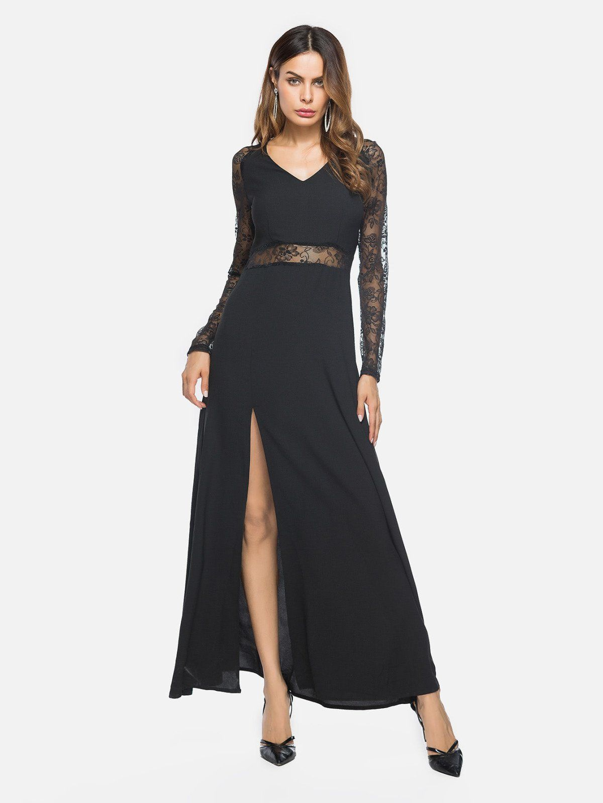 V neckline side split lace panel dress panel dress side split and