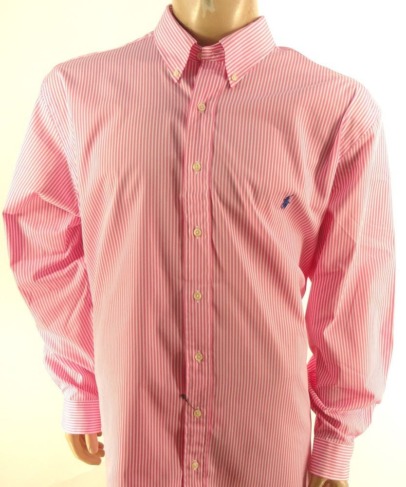 55c2513df5 POLO RALPH LAUREN $110 PINK WHITE STRIPED Big & Tall BUTTON DOWN SHIRT 2XLT…