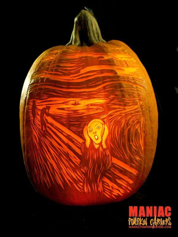 creative pumpkin carvings inspired by famous art art pinterest