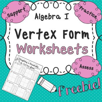 Quadratics Unit Graphing In Vertex Form Worksheet Worksheets