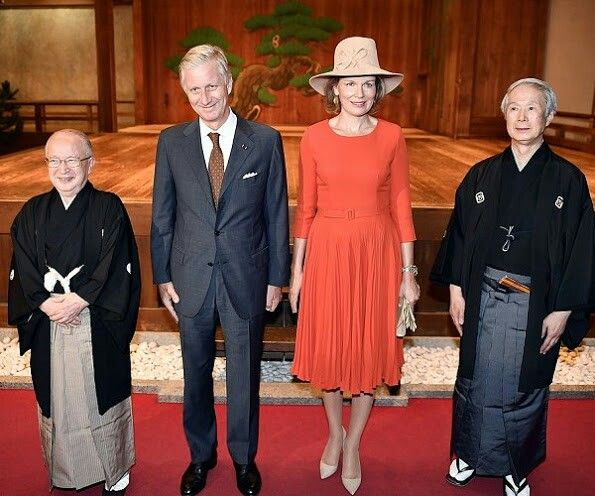 On October Belgian King Philippe And Queen Mathilde Of Belgium Met With Performers Of Traditional Noh Masked Dance Drama In Osaka On Day Five Of A State