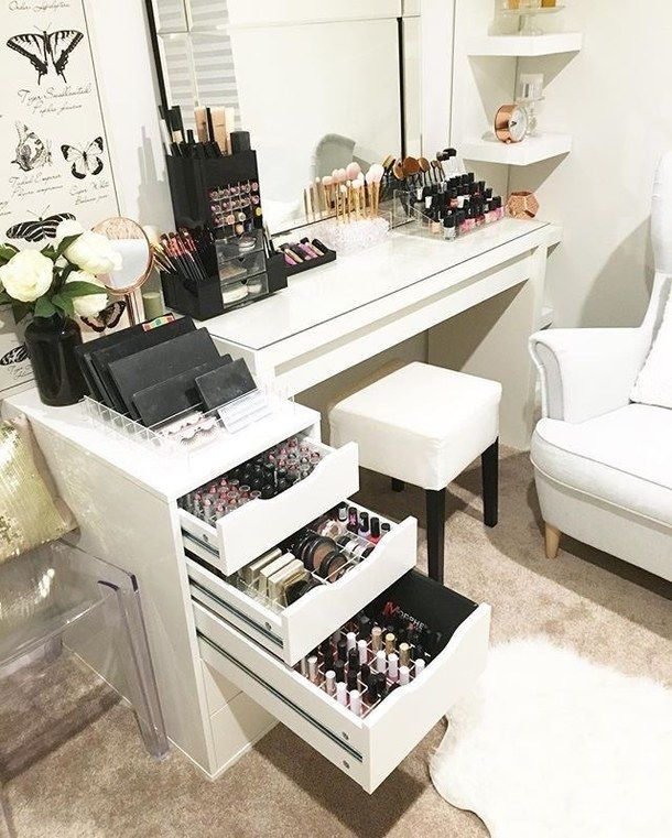 desk used as vanity. Something like this except I think just need the organized drawers and a  top that can be used as table for mirror brushes etc Pin by sarah elizabeth yosef on Makeup ideas Pinterest Vanities