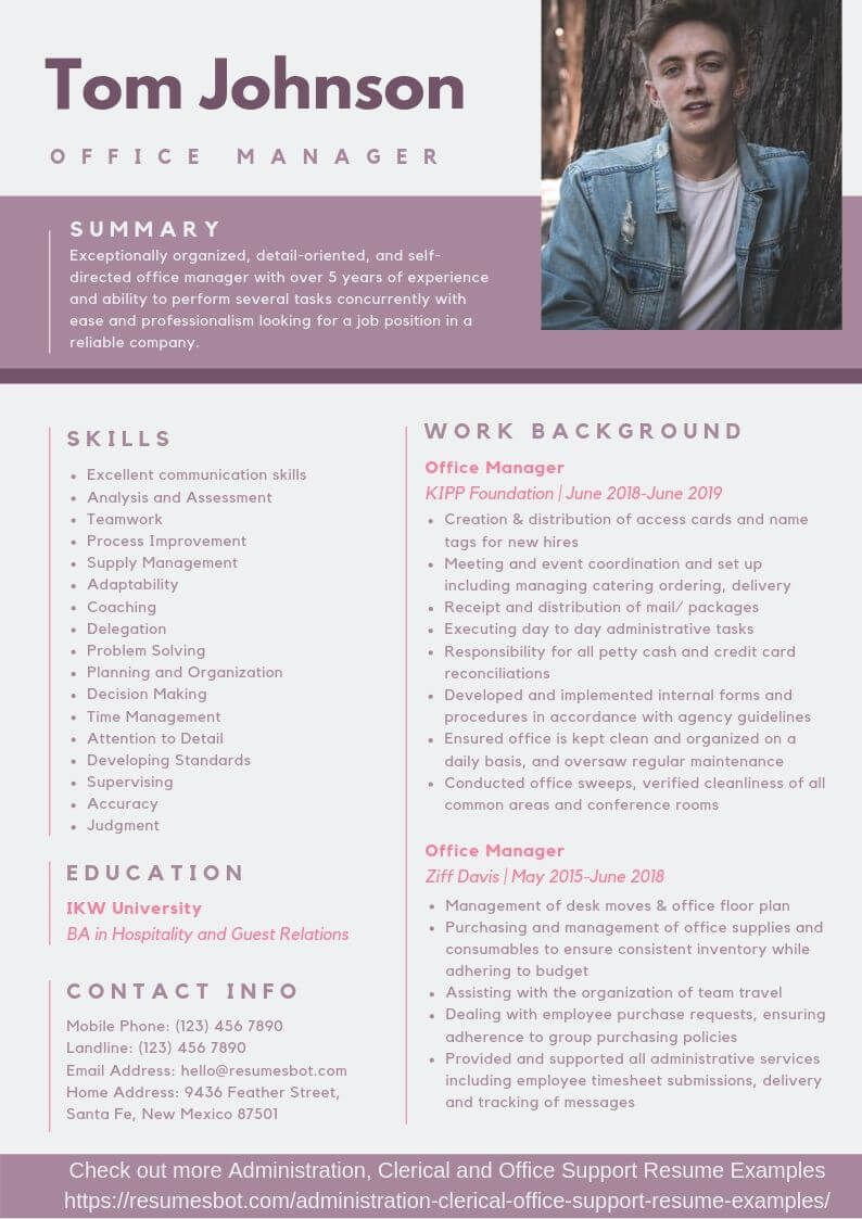 Office Manager Resume Samples & Templates [PDF+DOC] 2019