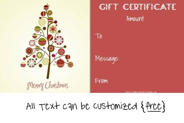 Christmas Gift Certificate Templates Christmas Gift Certificates