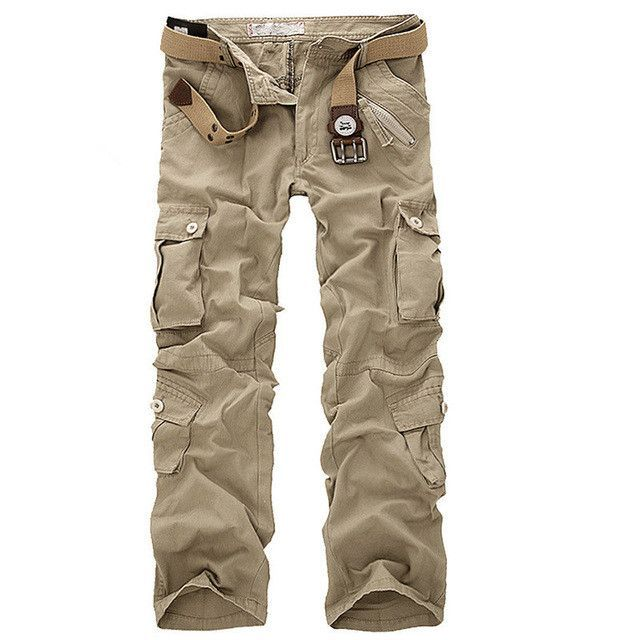 Casual Army Cargo Camo Combat Style Pants Loose Multi-Pocket