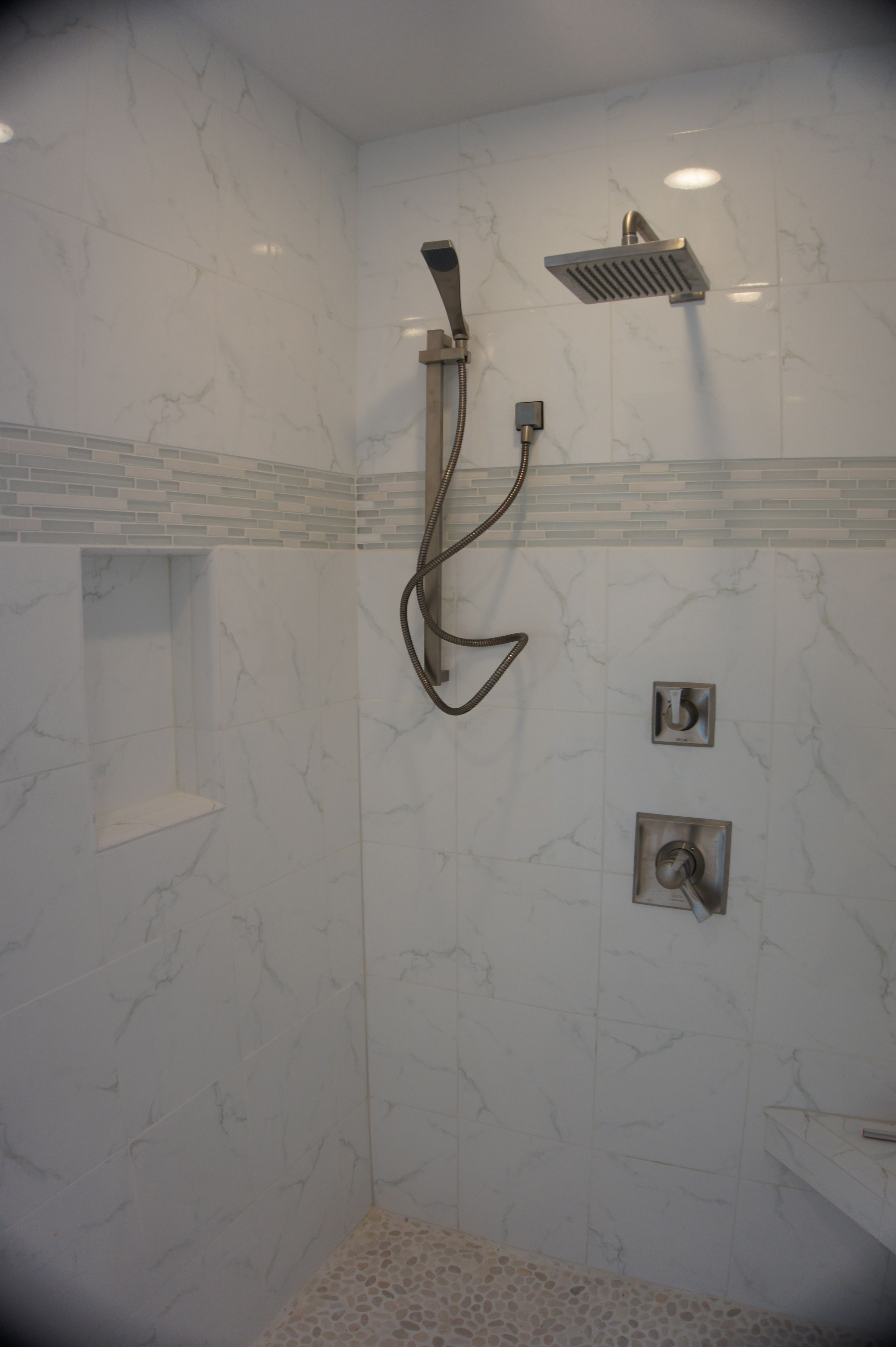 Large walk in tile shower pebble stone shower floor tile walls large walk in tile shower pebble stone shower floor tile walls and dailygadgetfo Choice Image