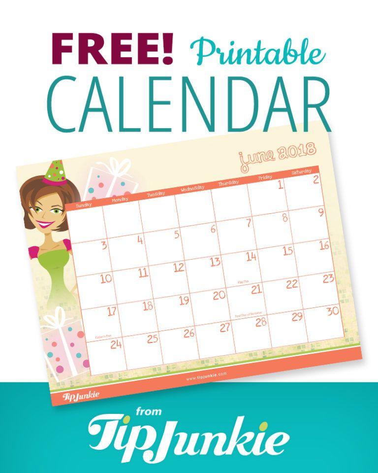 Free Printable 2018 Calendar by Tip Junkie easy Printable - printable calendars