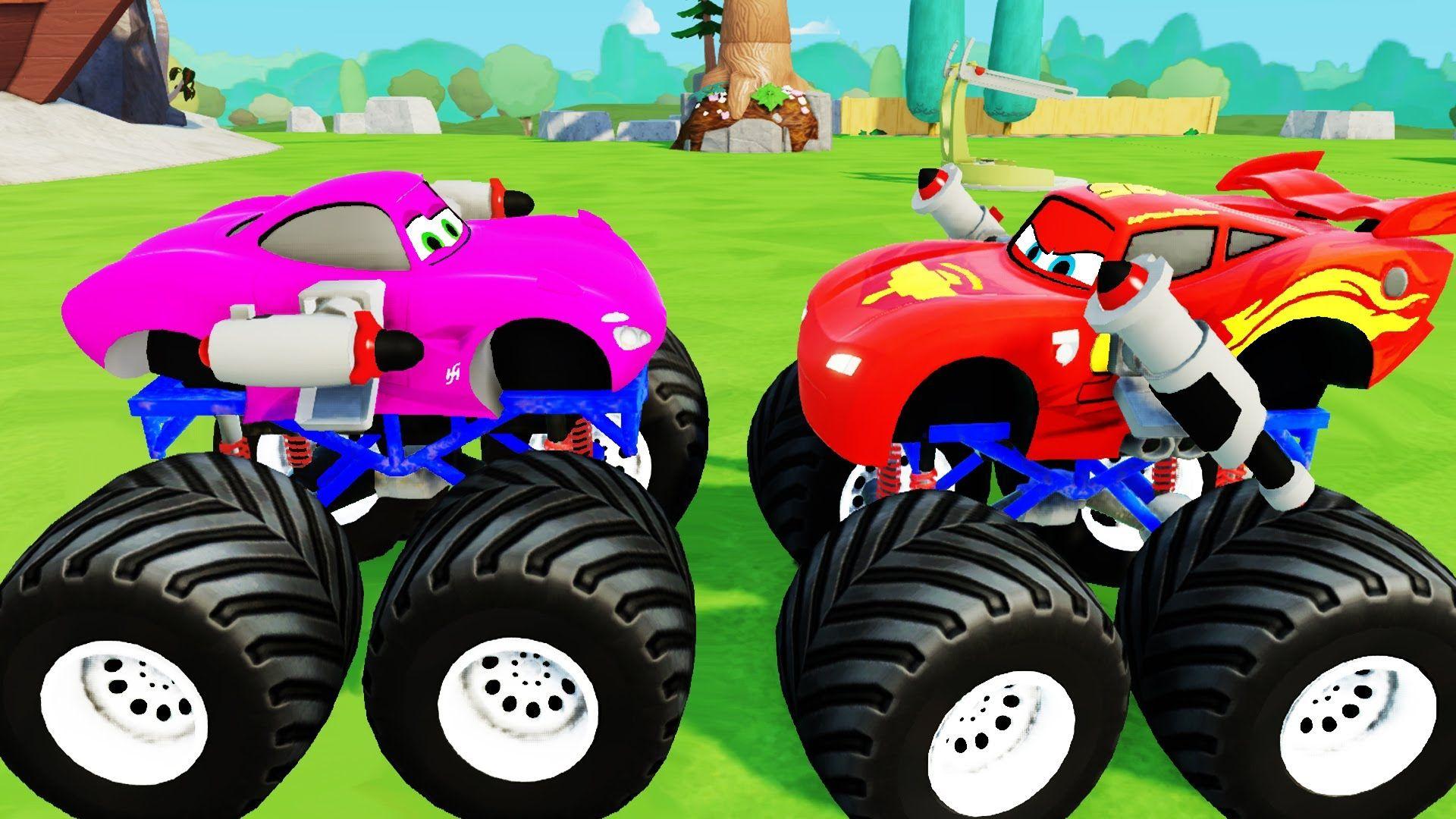 Cars Videos Para Ninos Monster Trucks Coches De Mcqueen Juega