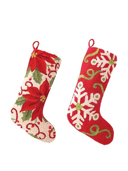 Beautiful!! Set of 2 Poinsettia and Snowflakes Hook Stockings