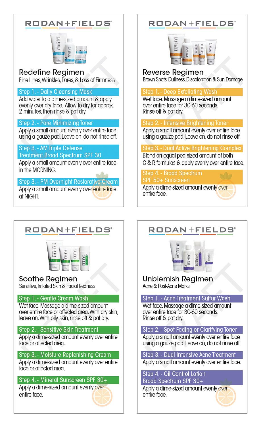 Rodan And Fields Regimen Instructions Sized As Business Cards For