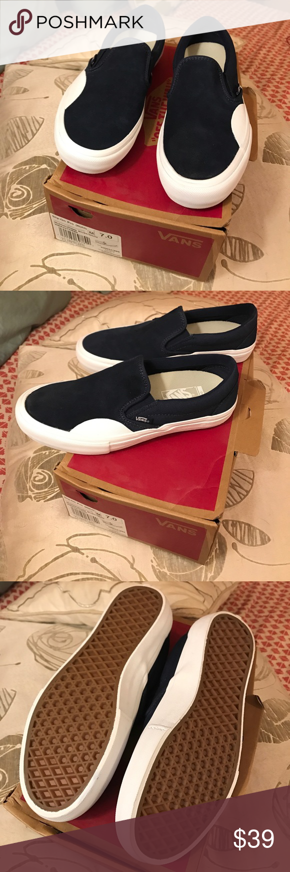a1ff3f7634a178 Vans Slip-on Pro in (Rubber) Dress Blues White Brand new - never worn - pro  style vans meaning it includes the ultracush lining versus the regular.