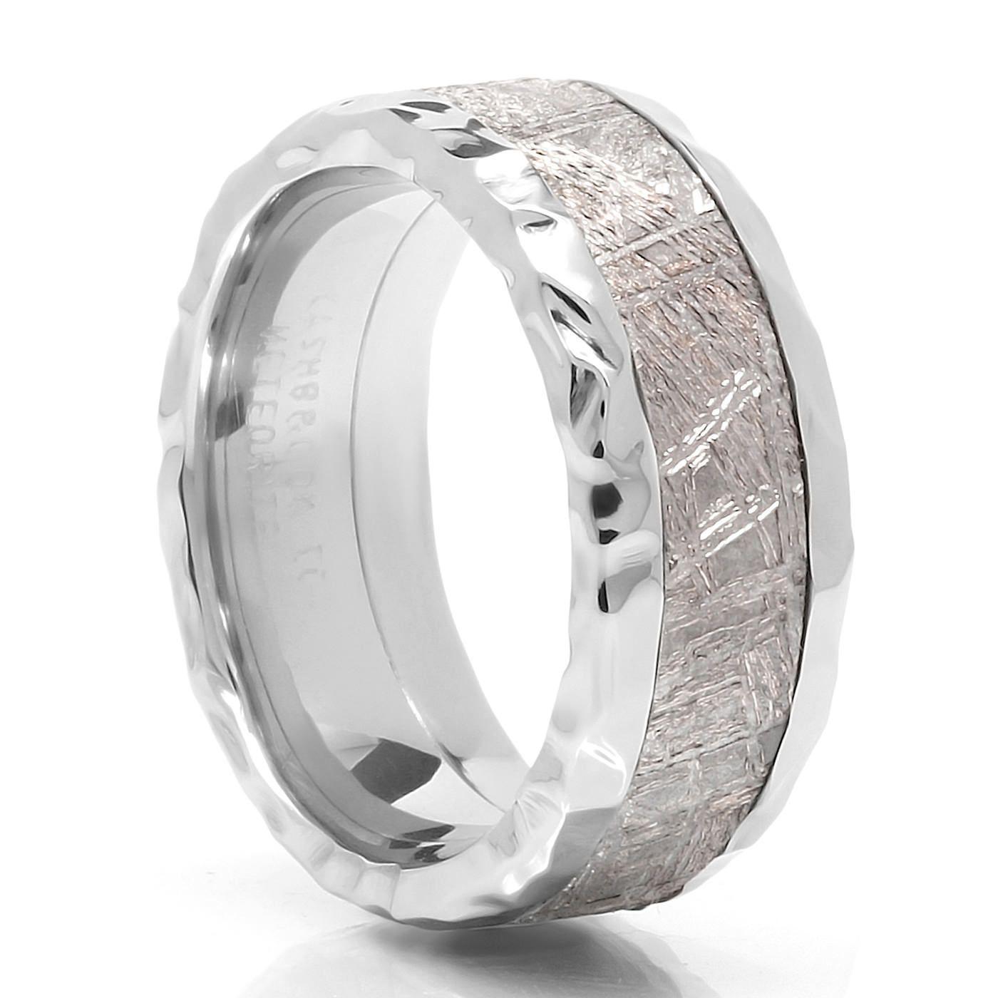 CRATER Cobalt & Meteorite Meteorite wedding band, Modern