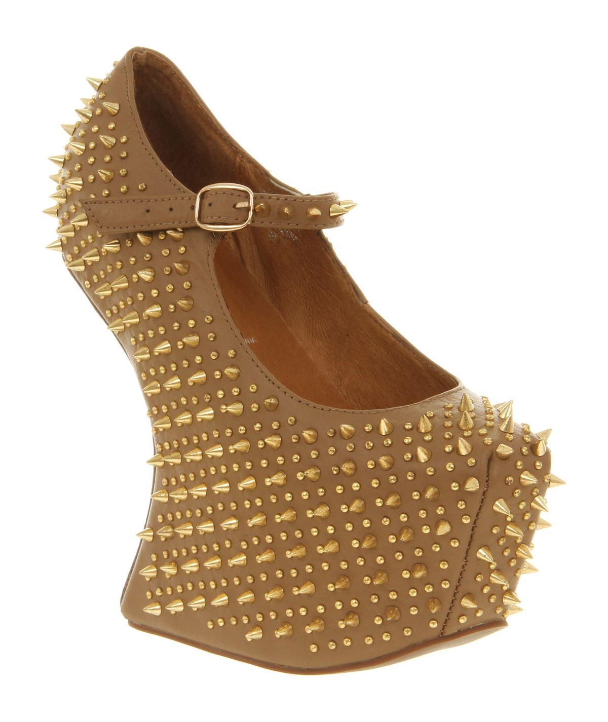 Jeffrey Campbell Prickly Wedge Taupe Leather Gold Spike - High Heels