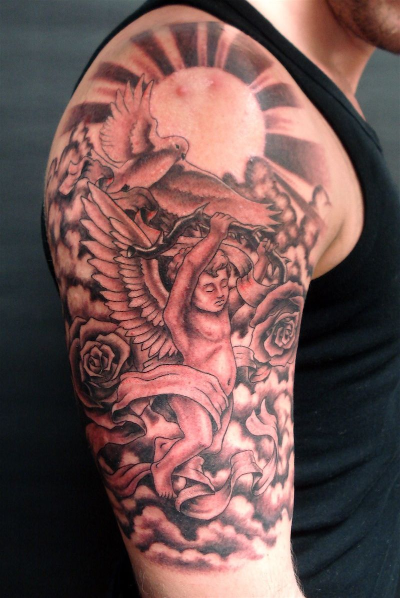 Angels, roses and sun sleeve Tattoos, Art tattoo