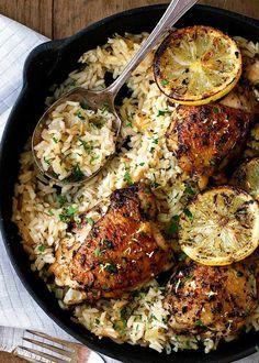 One Pot Greek Chicken and Lemon Rice - best chicke